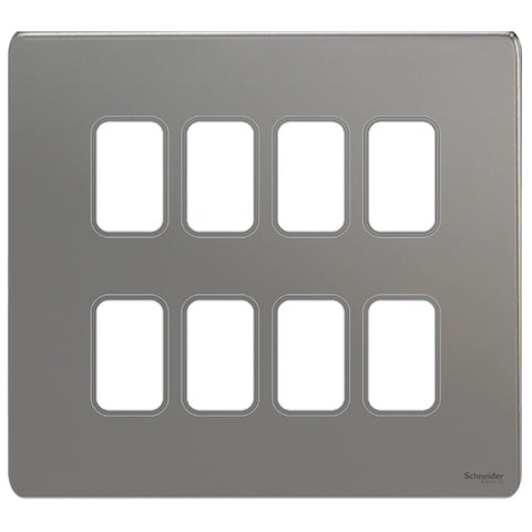 GUGS08GBN Ultimate grid screwless cover plate black nickel 8 gang (c/w mounting frame)