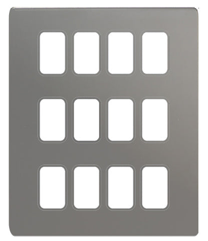 GUGS12GBN Ultimate grid screwless cover plate black nickel 12 gang (c/w mounting frame)