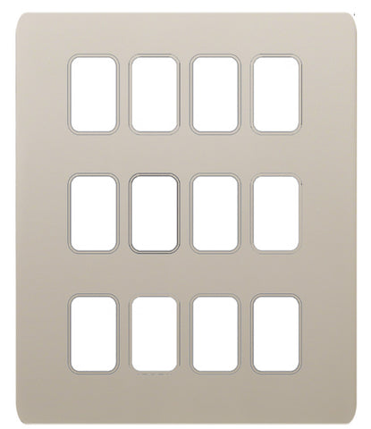 GUGS12GPN Ultimate grid screwless cover plate pearl nickel 12 gang (c/w mounting frame)