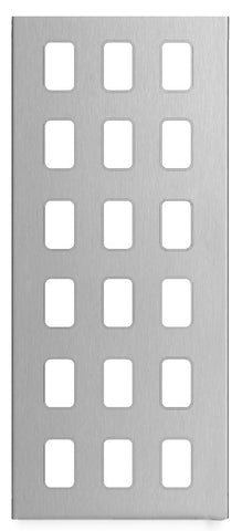 GUGS18GSS Ultimate grid screwless cover plate stainless steel 18 gang (c/w mounting frame)
