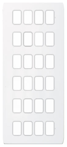 GUGS24GPW Ultimate grid screwless cover plate white metal 24 gang (c/w mounting frame)