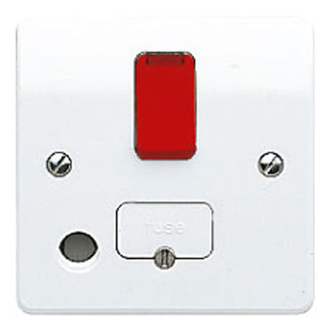 MK Electric K1070D1WHI Logic Plus 13A DP Switched Fused Connection Unit with Front Flex Outlet, Neon & Red Rocker