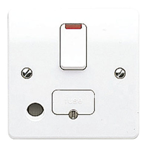 MK Electric K1070WHI Logic Plus 13A DP Switched Fused Connection Unit with Front Flex Outlet &Neon