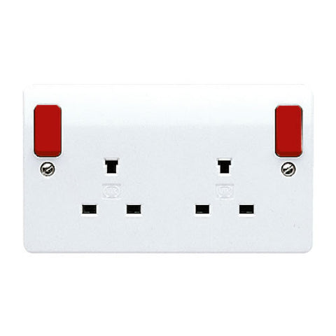 MK Electric K1246D1WHI Logic Plus 13A 2 Gang DP Non-Standard Switched Socket Outlet with Red Rockers