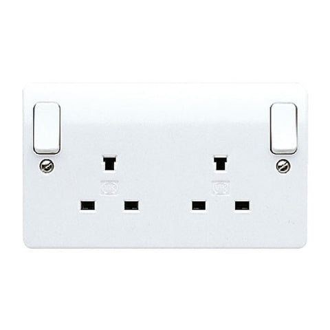 MK Electric K1246WHI Logic Plus 13A 2 Gang DP Non-Standard Switched Socket Outlet