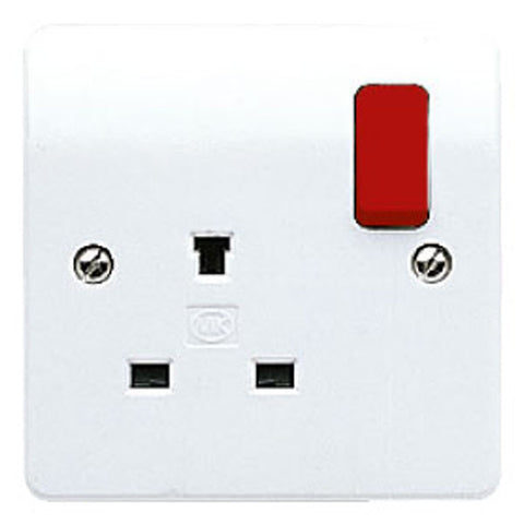 MK Electric K1257D1WHI Logic Plus 13A 1 Gang DP Non-Standard Switched Socket Outlet with Red Rockers
