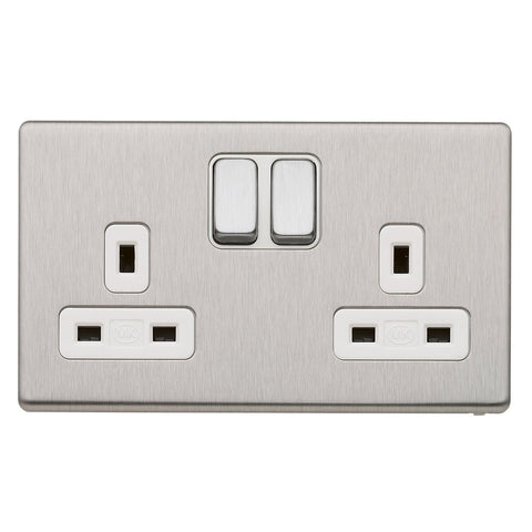 MK K24347BSSW - 13A 2G Dp Dual Earth Switched Socket