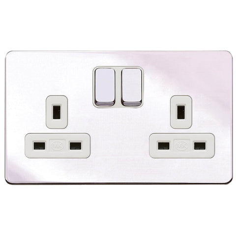 MK K24347POCW - 13A 2G Dp Dual Earth Switched Socket