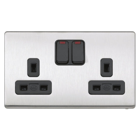 MK K24647BSSB - 13A 2G Dp Dual Earth Switched Socket + Neon