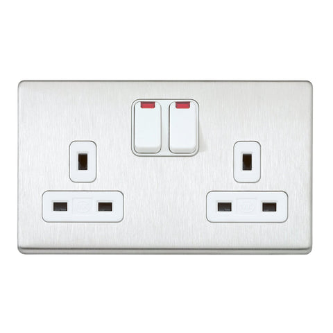 MK K24647BSSW - 13A 2G Dp Dual Earth Switched Socket + Neon