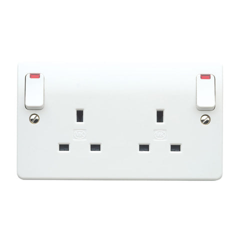 MK Electric K2476WHI Logic Plus 13A 2 Gang DP Switched Socket Outlet with Outboard Rockers and Neons