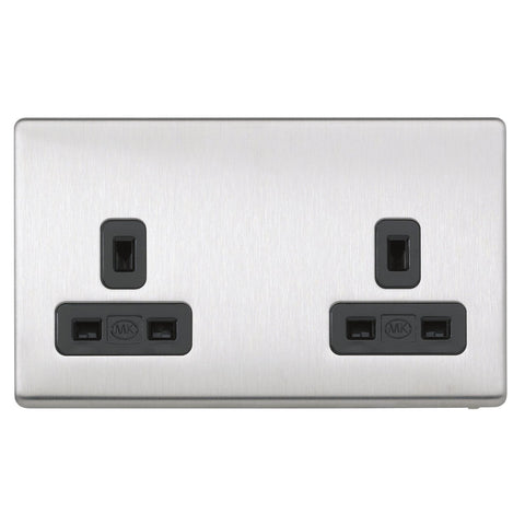 MK K24781BSSB - 13A 2G Dp Dual Earth Unswitched Socket