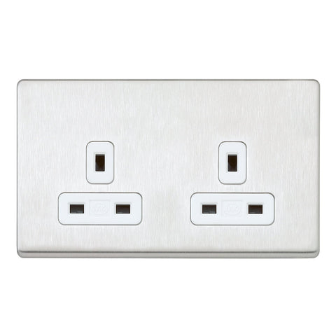 MK K24781BSSW - 13A 2G Dp Dual Earth Unswitched Socket