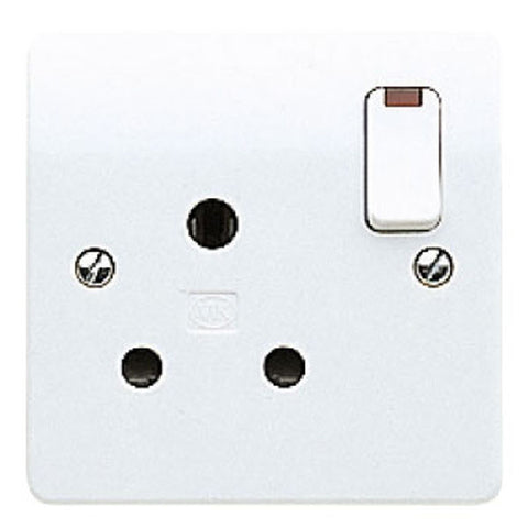 MK Electric K2493WHI Logic Plus 15A 1 Gang Round Pin Switched Socket Outlet & Neon