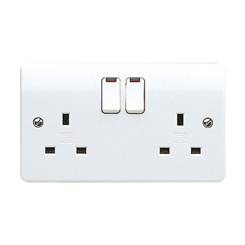 MK Electric K2647WHI Logic Plus 13A 2 Gang DP Switch Socket Outlet & Neon