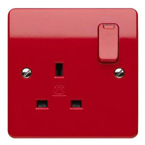 MK Electric K2657D1RED Logic Plus 13A 1 Gang DP Switched Socket Outlet & Neon