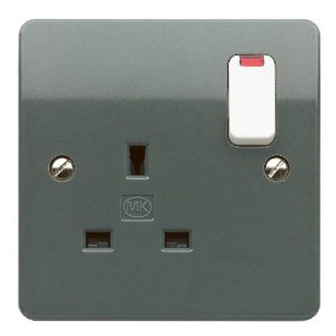 MK Electric K2657GRA Logic Plus 13A 1 Gang DP Switched Socket Outlet & Neon