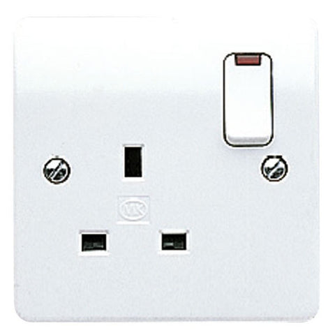 MK Electric K2657WHI Logic Plus 13A 1 Gang DP Switched Socket Outlet & Neon