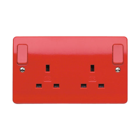 MK Electric K2746D1RED Logic Plus 13A 2 Gang DP Switched Socket Outlet  Dual Earth with Outboard Rockers