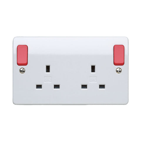 MK Electric K2746D1WHI Logic Plus 13A 2 Gang DP Switched Socket Outlet  Dual Earth with  Red Outboard Rockers