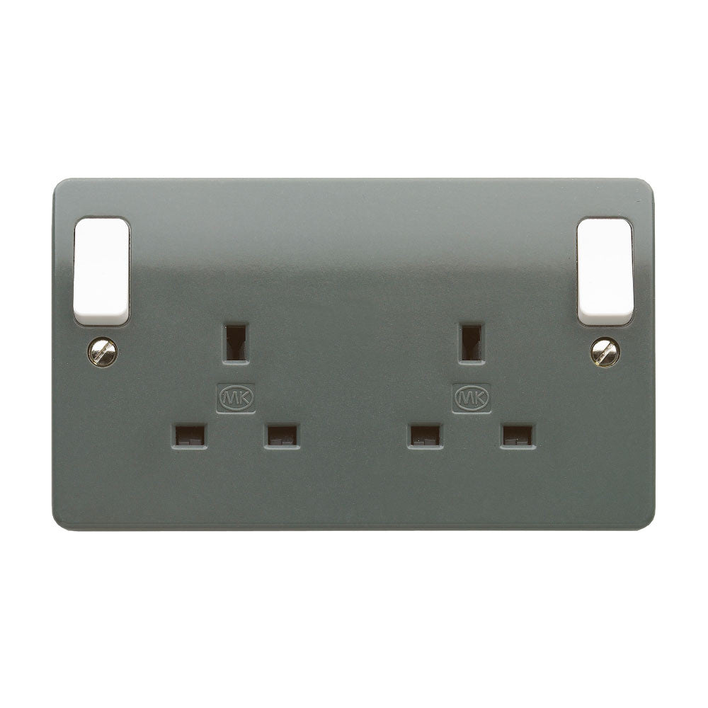 MK Electric K2746GRA Logic Plus 13A 2 Gang DP Switched Socket Outlet ...