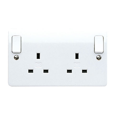 MK Electric K2746WHI Logic Plus 13A 2 Gang DP Switched Socket Outlet  Dual Earth with Outboard Rockers