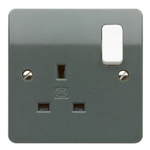 MK Electric K2757GRA Logic Plus 13A 1 Gang DP Switched Socket Outlet Grey with White Rocker