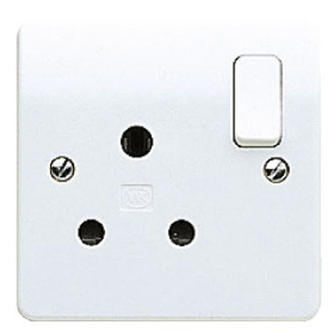 MK Electric K2893WHI Logic Plus 15A 1 Gang Round Pin Switched Socket Outlet