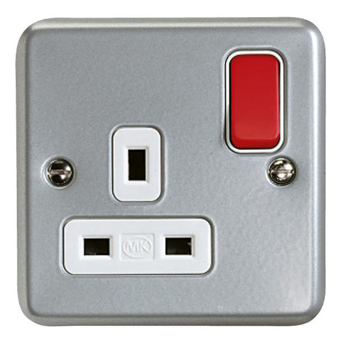 K2977D6ALM - 13A 1 Gang Double Pole Switch Socket Outlet with Red Rocker - Metallic