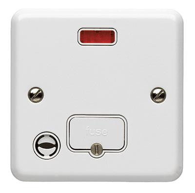 K3086WHI - 13A Unswitched Fused Connection Unit with Neon + Flex Out - White