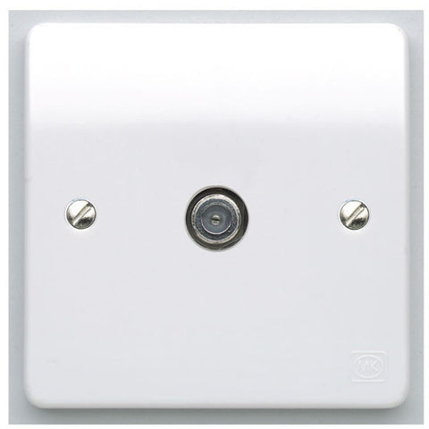 MK Electric K3555WHI Logic Plus 1 Gang Digital Single Non Isolated Screened F-Type Satellite Socket