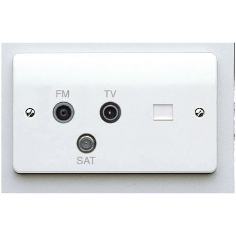 MK Electric K3561WHI Logic Plus 2 Gang Digital Triple TV / FM / Satellite Triplexer Socket With BT Secondary Telephone Socket