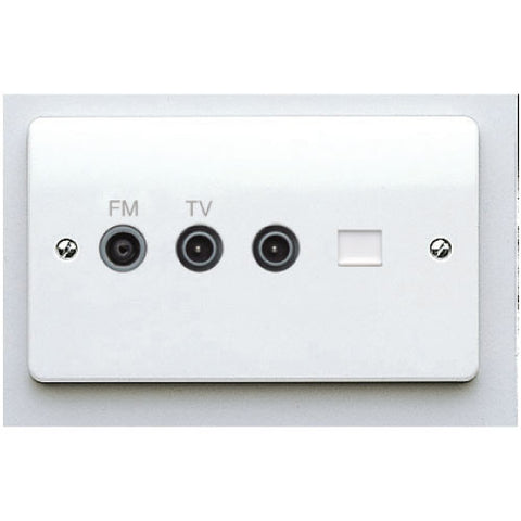 MK Electric K3562WHI Logic Plus 2 Gang Digital Twin TV / FM  Diplexer  with single IEC Male TV Socket and BT Secondary Telephone Socket