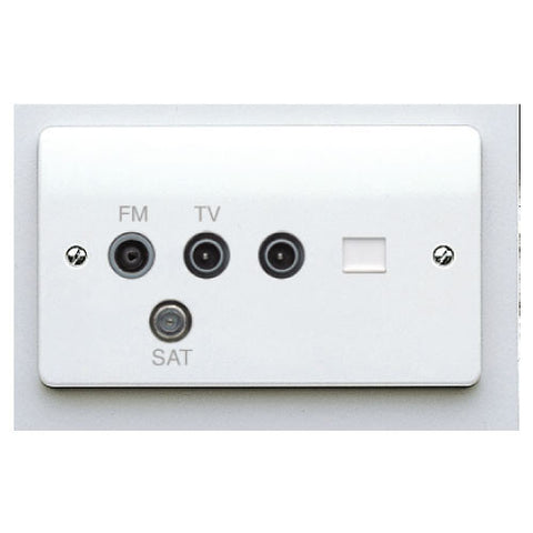 MK Electric K3563WHI Logic Plus 2 Gang Digital Triple TV / FM / SAT  Triplexer  with single IEC Male TV Socket and BT Secondary Telephone Socket