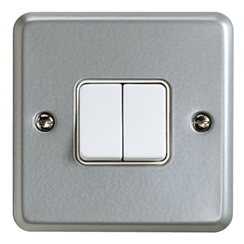 K3592ALM - 10A 2 Gang Single Pole 2 Way Switch - Metallic
