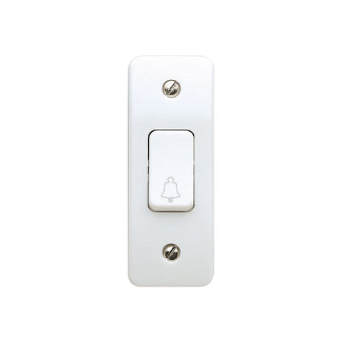 MK Electric K4848BWHI Logic Plus 10AX 1 Gang SP Architrave Switch with Bell Symbol