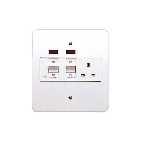 MK Electric K5011WHI Logic Plus 45A White Metal DP Flush Mounting Cooker Control Unit With 13A Switchsocket & Neons