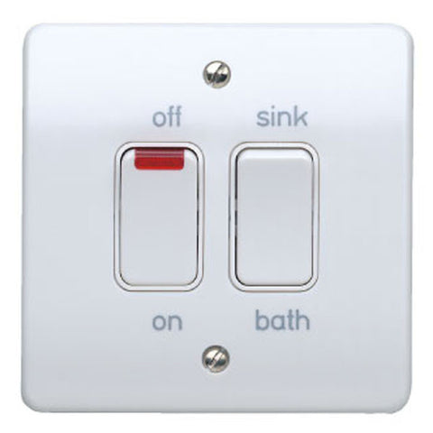 MK Electric K5207WHI Logic Plus 20A Dual Switch With Neons For Controlling Immersion Heaters