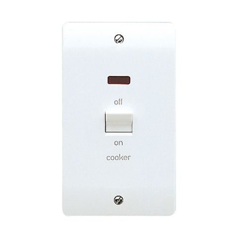 MK Electric K5215CKWHI Logic Plus 50A 2 Gang Vertical DP Switch With Neon Marked 'COOKER'