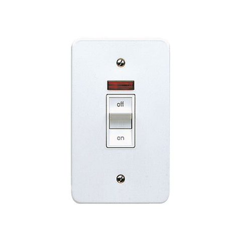 MK Electric K5230WHI Logic Plus 45A 2 Gang White Metal DP Surface Mounted Switch with Neon