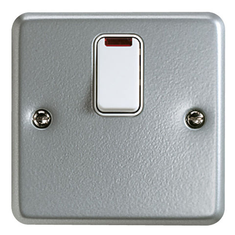K5232ALM - 20A Single Gang Double Pole Switch with Neon - Metallic
