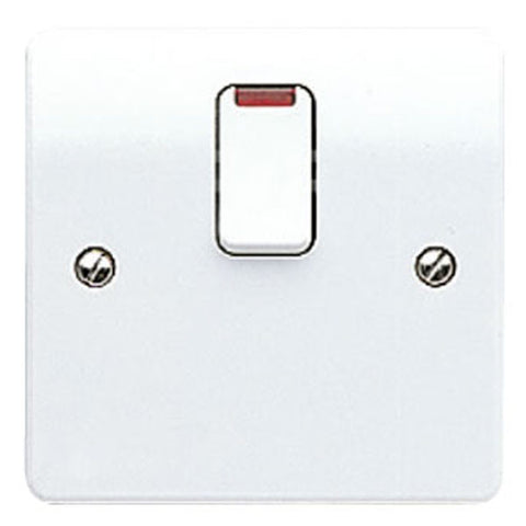 MK Electric K5423WHI Logic Plus 20A DP Switch With Neon,  & Flex Outlet In Base