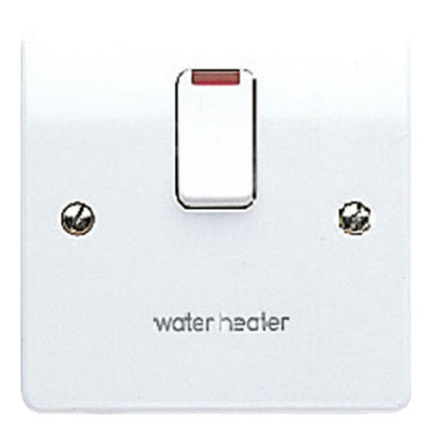MK Electric K5423WHWHI Logic Plus 20A DP Switch With Neon, & Flex Outlet In Base Marked 'Water Heater'