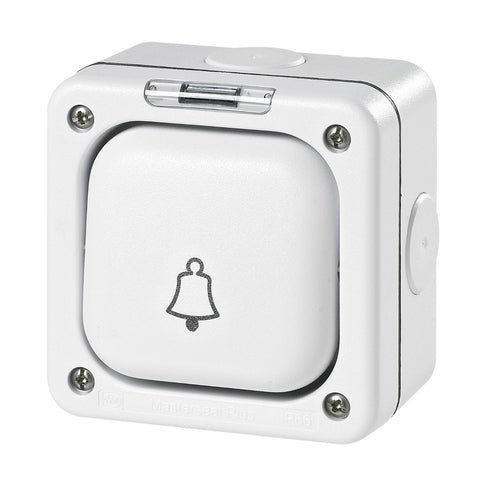 "MK Masterseal Plus K56407WHI - IP66 10A 1 Gang Single Pole 2-way Switch Labeled ""Bell"" - White"
