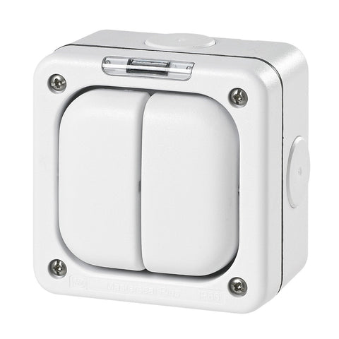 MK Masterseal Plus K56422WHI - IP66 2 Gang Switch Enclosure For Use With Any One Switch Module - White