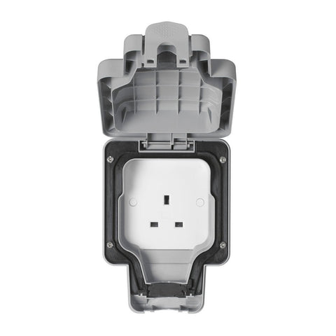 MK Masterseal Plus K56480GRY - IP66 13A 1 Gang Unswitched Socket - Grey