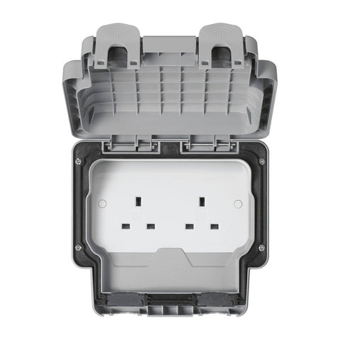MK Masterseal Plus K56481GRY - IP66 13A 2 Gang Unswitched Socket - Grey