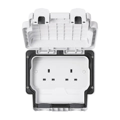 MK Masterseal Plus K56481WHI - IP66 13A 2 Gang Unswitched Socket - White