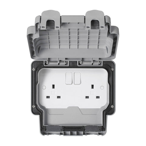 MK Masterseal Plus K56482GRY - IP66 13A 2 Gang Switched Socket - Grey