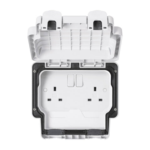 MK Masterseal Plus K56482WHI - IP66 13A 2 Gang Switched Socket - White